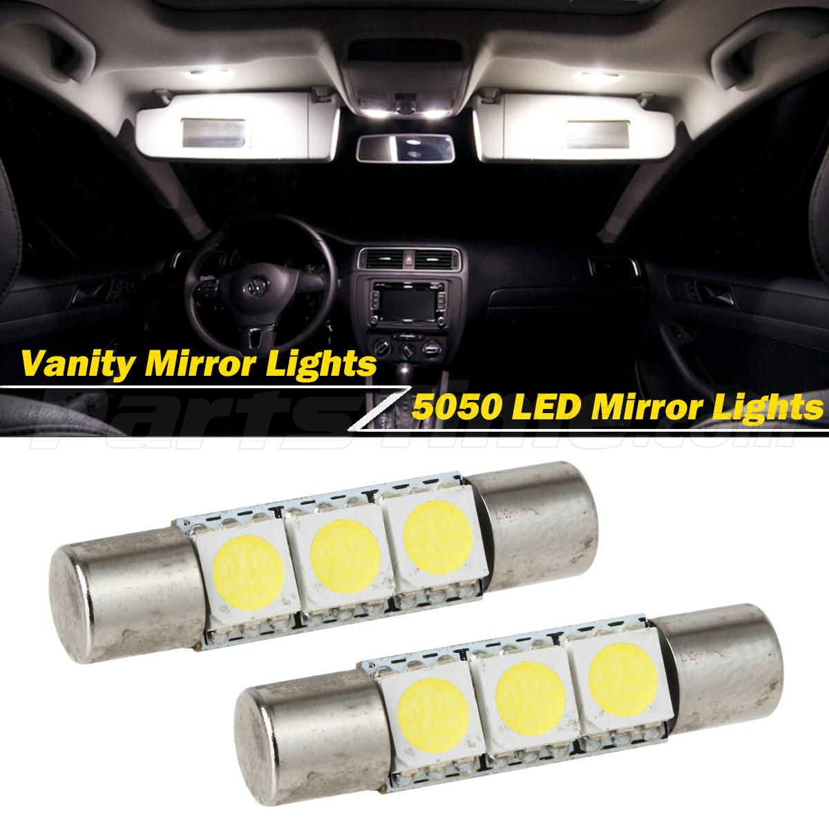 2pcs xenon white 3 smd 6641 led bulb for car sun visor vanity mirror fuse lights ebay. Black Bedroom Furniture Sets. Home Design Ideas