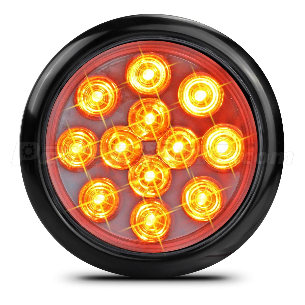 4 U0026quot  Round Clear Lens Amber Led Truck Trailer Stop Turn Tail