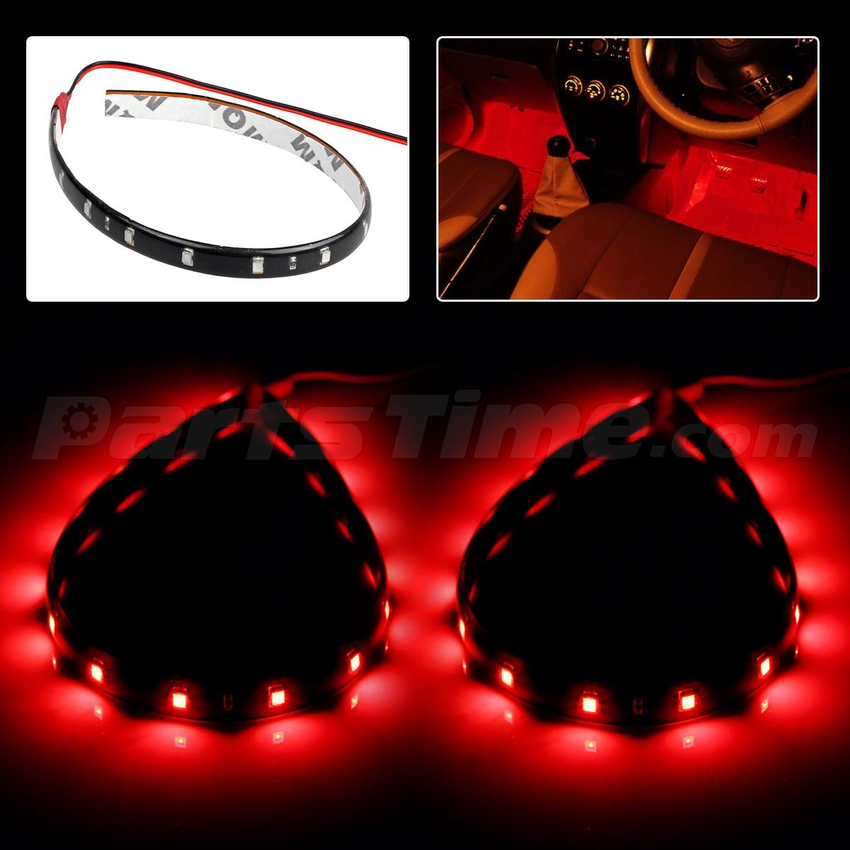 2x auto interior red light waterproof 15 led light flexible strip 30cm internal ebay. Black Bedroom Furniture Sets. Home Design Ideas