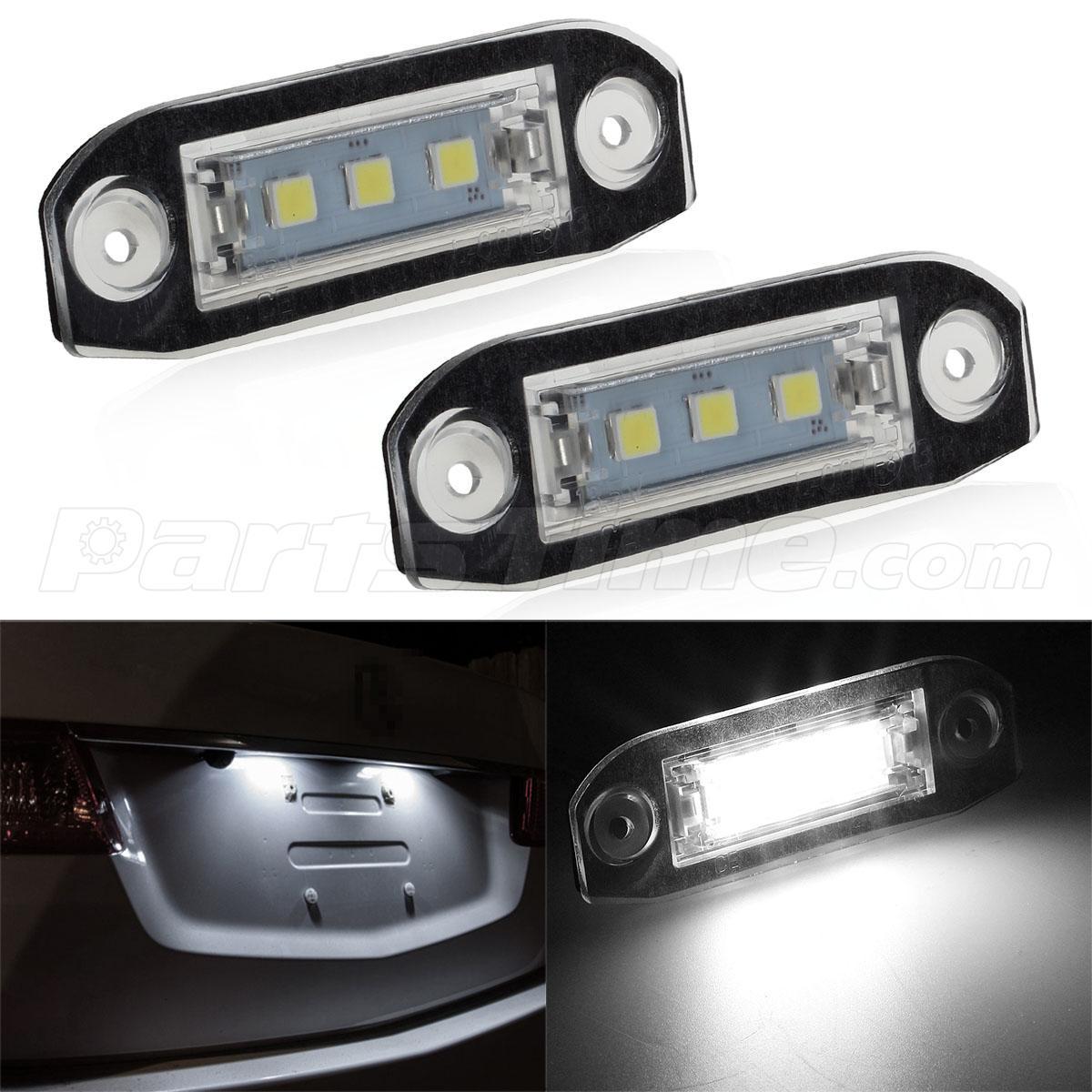Volvo C70 2006: 2pcs Error Free 6000K White License Plate Light Lamp For