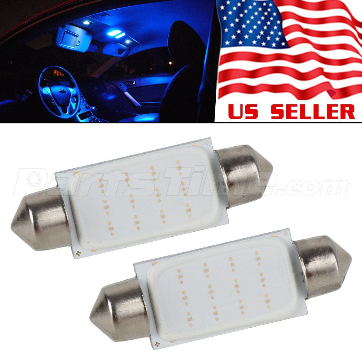 2pcs Blue Cob Led Lights 41 42 43mm Festoon Bulbs Interior Dome Map 578 12v Ebay