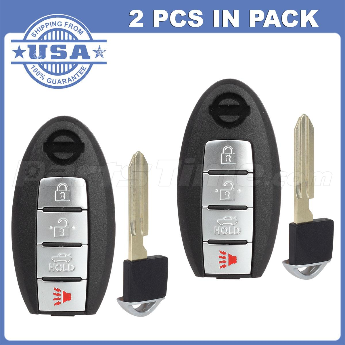2 New 4 Buttons Uncut Replacemnet Remote Fob Key For