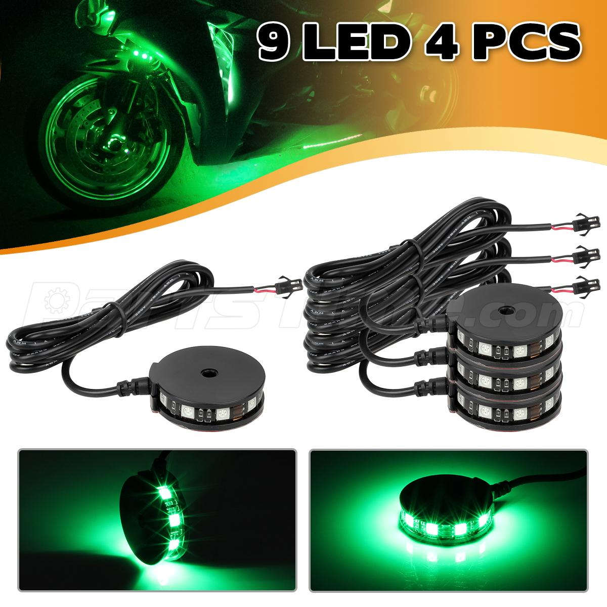 4 Green Color Led Motorcycle Axle Wheel Pod Accent Light