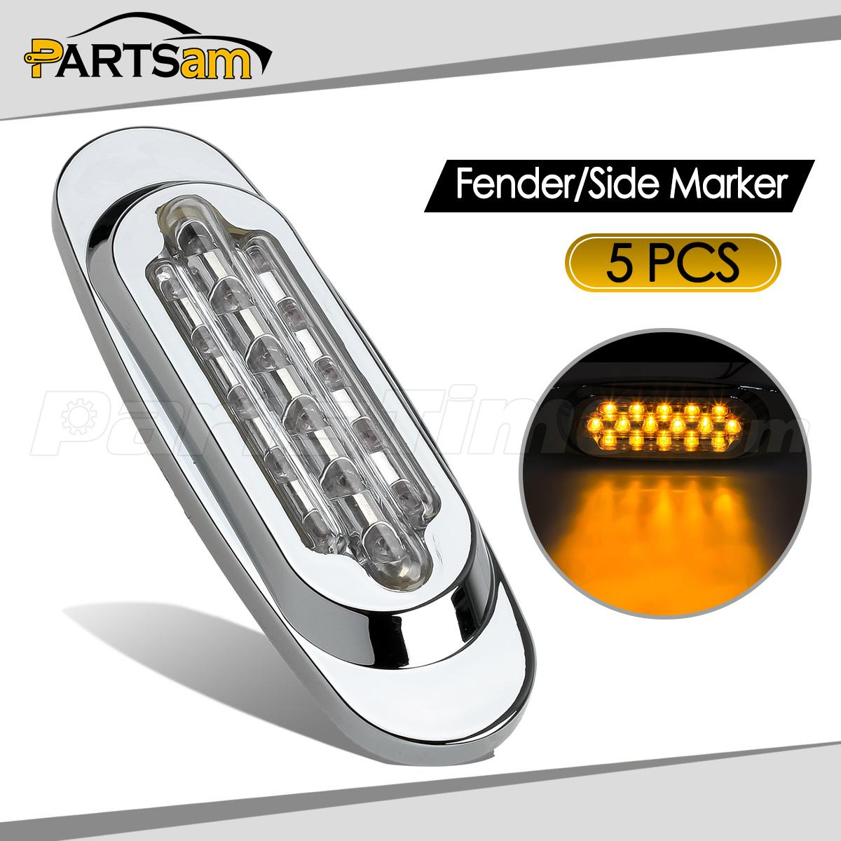 5pcs 6 5 U0026quot  Clear  Amber Trailer Fender Clearance Marker