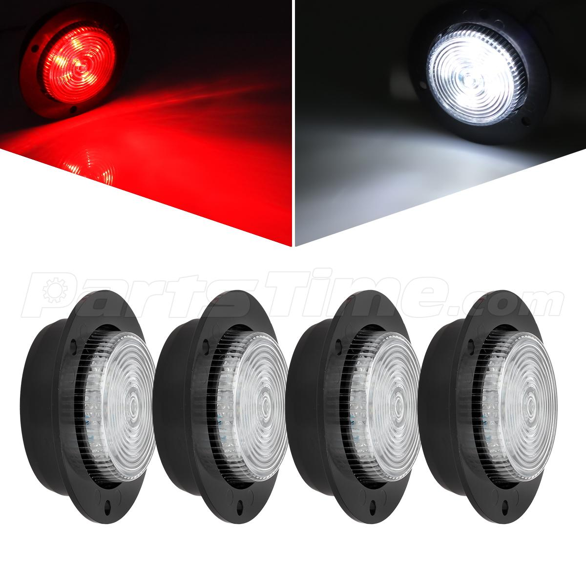 4x 2 Quot Round Led Marker Light Tail Backup Clear Red White